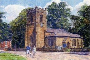 painting of Oxton Church by Paul Bramble ca 2001-2