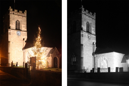 Oxton Church at night