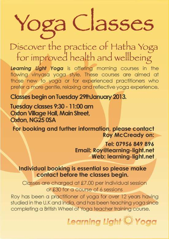 Yoga Oxton advert