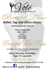 New ballet, tap and disco classes at Oxton Village Hall